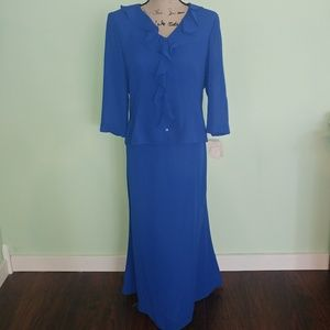 NEW 2 PC CYNTHIA HOWIE BLUE SKIRT & TOP SIZE 12